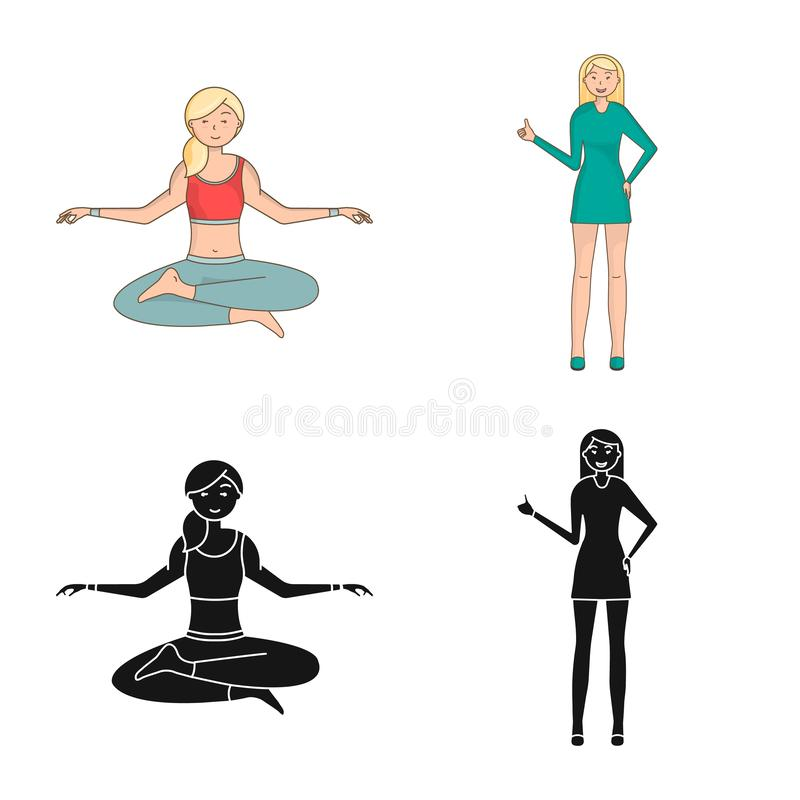Isolated object of posture and mood sign. Collection of posture and female stock vector illustration. Vector design of posture and mood logo. Set of posture and stock illustration