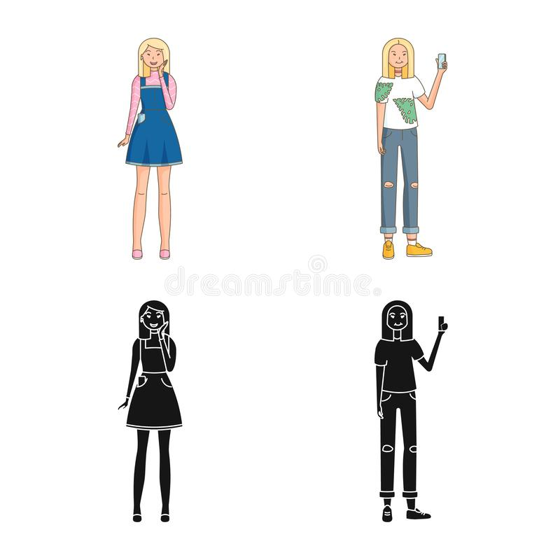 Isolated object of posture and mood sign. Collection of posture and female stock symbol for web. Vector design of posture and mood logo. Set of posture and vector illustration