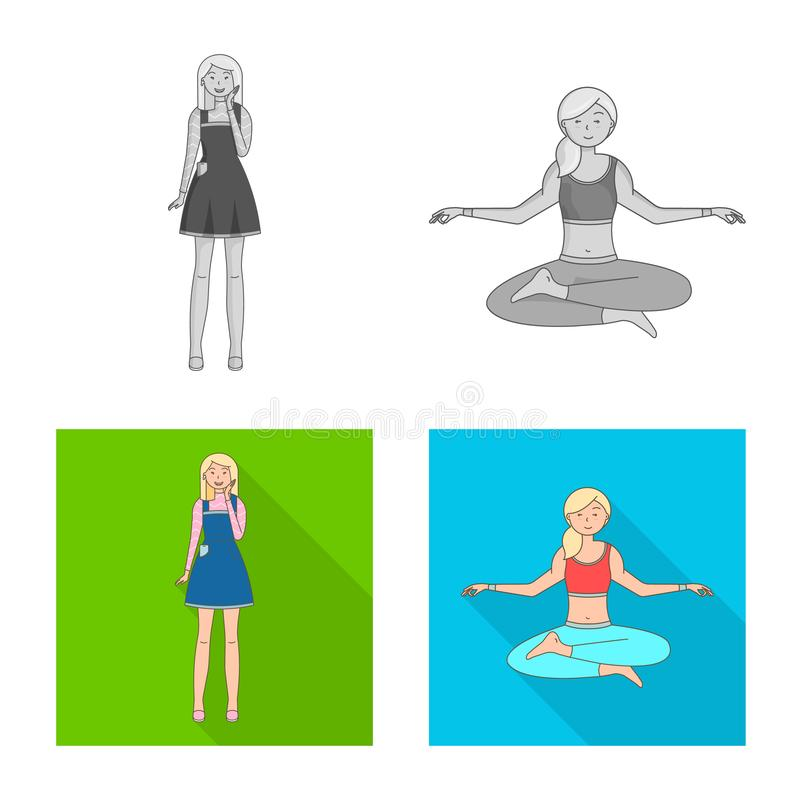 Isolated object of posture and mood sign. Collection of posture and female stock symbol for web. Vector design of posture and mood logo. Set of posture and royalty free illustration