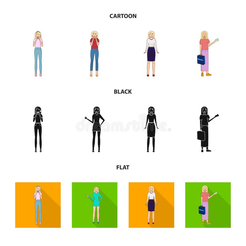 Vector design of posture and mood sign. Collection of posture and female vector icon for stock. Vector illustration of posture and mood logo. Set of posture and stock illustration