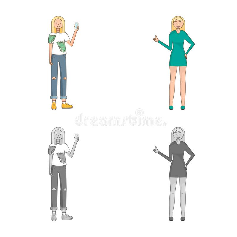 Isolated object of posture and mood symbol. Set of posture and female stock symbol for web. Vector design of posture and mood sign. Collection of posture and stock illustration
