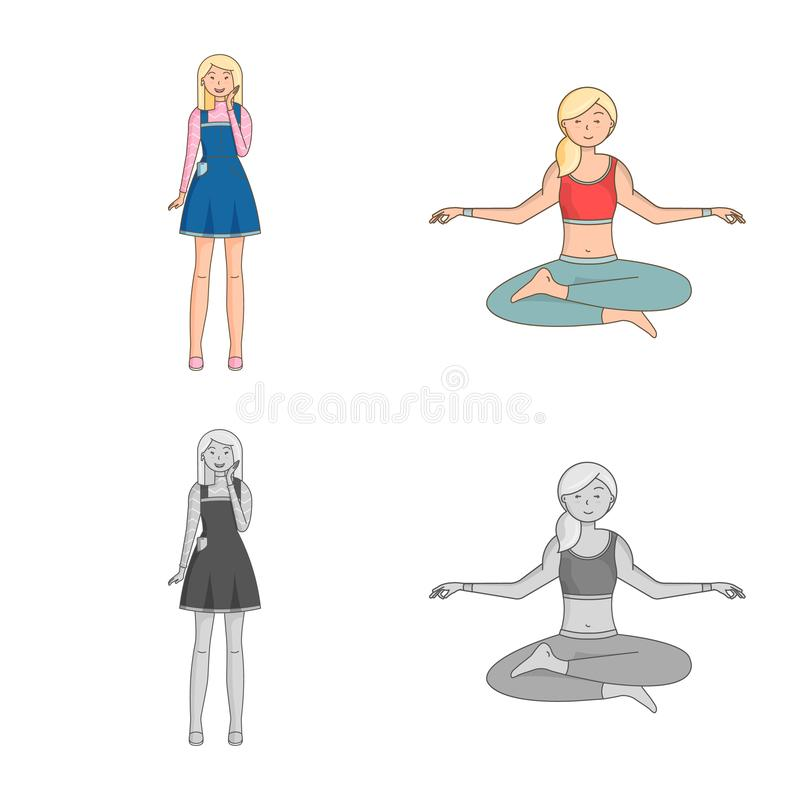 Isolated object of posture and mood symbol. Collection of posture and female stock vector illustration. Vector design of posture and mood sign. Set of posture stock illustration