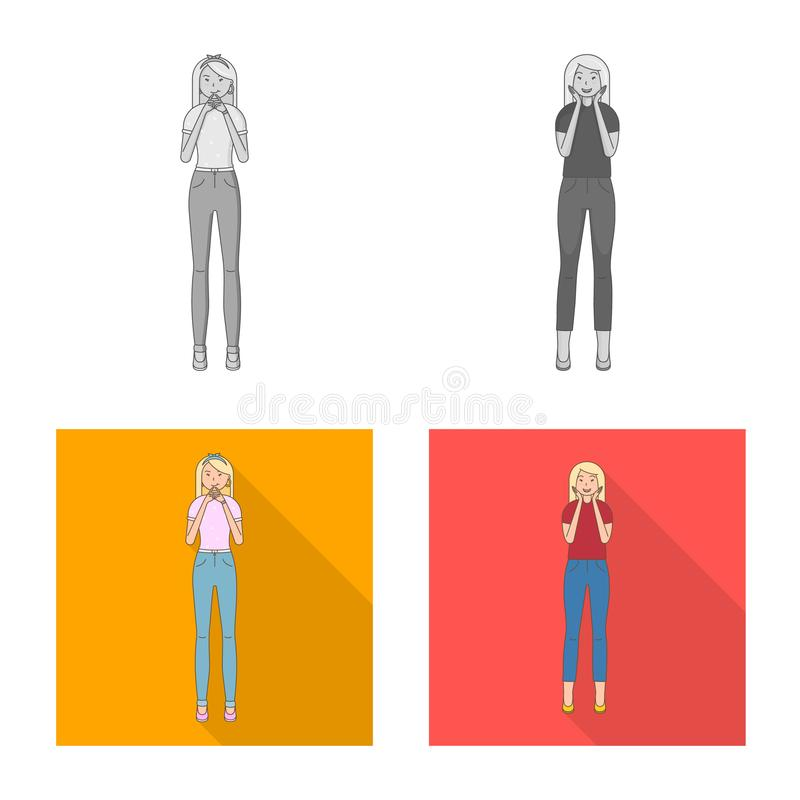 Vector design of posture and mood symbol. Collection of posture and female vector icon for stock. Vector illustration of posture and mood sign. Set of posture royalty free illustration
