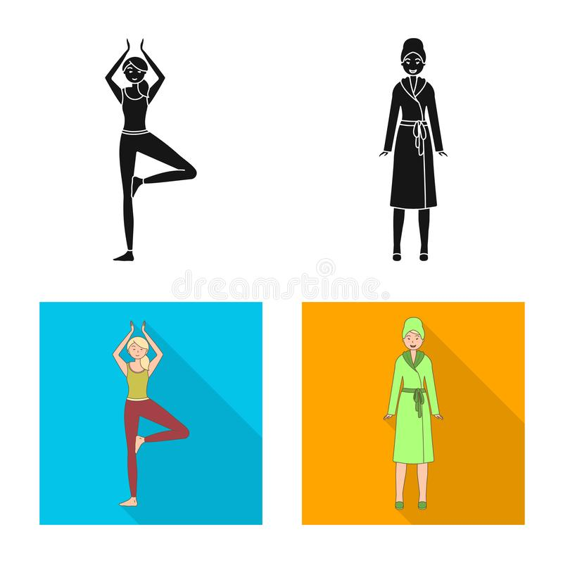 Isolated object of posture and mood icon. Collection of posture and female stock vector illustration. Vector design of posture and mood symbol. Set of posture stock illustration