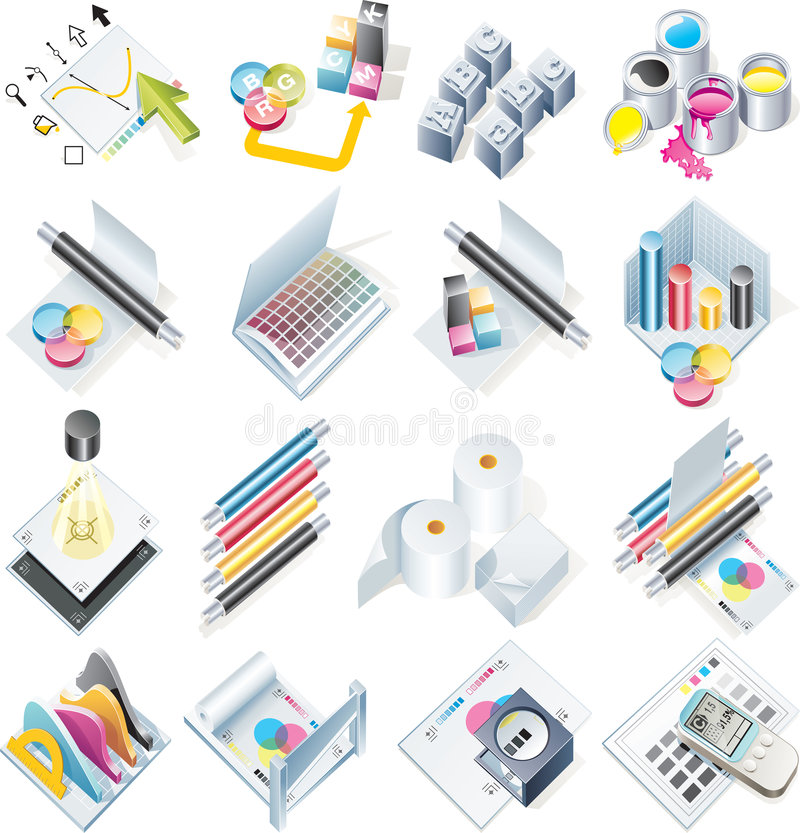 Vector design and print service icon set royalty free illustration
