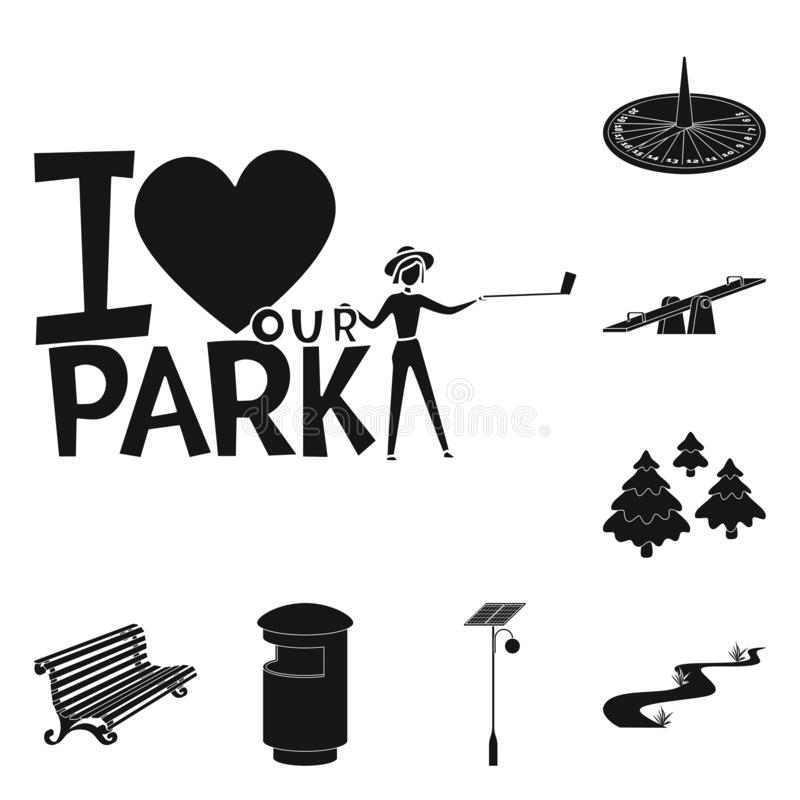 Isolated object of public and relaxation symbol. Collection of public and park stock symbol for web. Vector design of public and relaxation sign. Set of public royalty free illustration