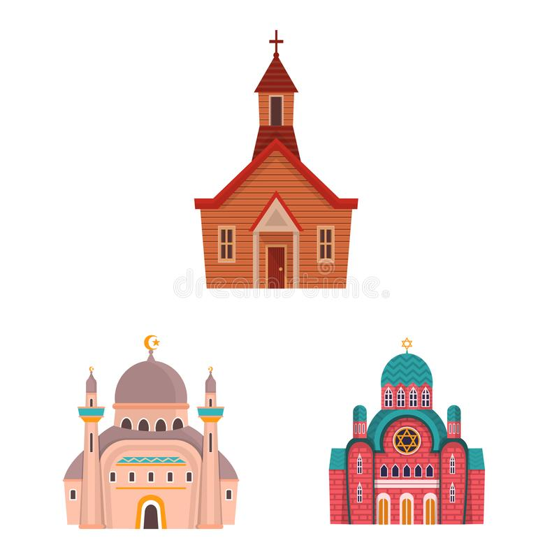 Vector design of religion and building logo. Collection of religion and faith vector icon for stock. Vector illustration of religion and building icon. Set of vector illustration