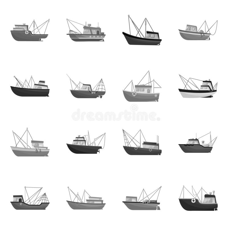 Vector design of sea and speedboat icon. Collection of sea and industrial stock vector illustration. Vector illustration of sea and speedboat symbol. Set of sea stock illustration