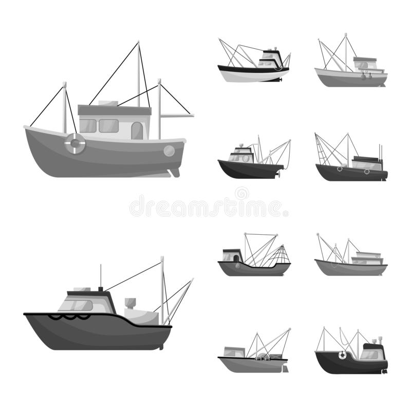 Isolated object of sea and speedboat logo. Set of sea and industrial stock vector illustration. Vector design of sea and speedboat icon. Collection of sea and vector illustration