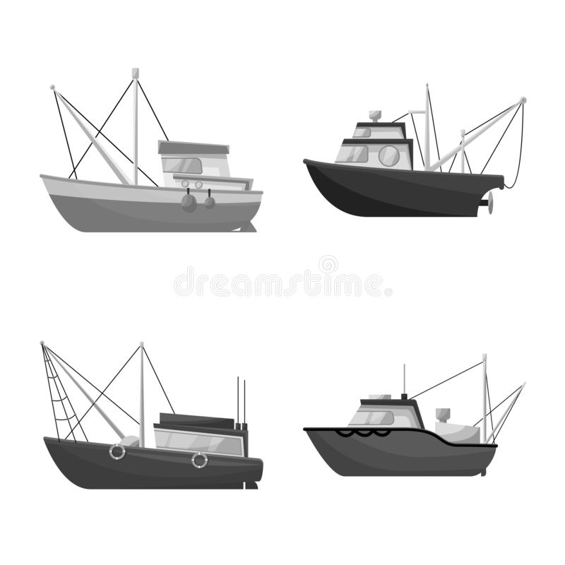 Isolated object of sea and speedboat logo. Collection of sea and industrial stock vector illustration. Vector design of sea and speedboat icon. Set of sea and royalty free illustration