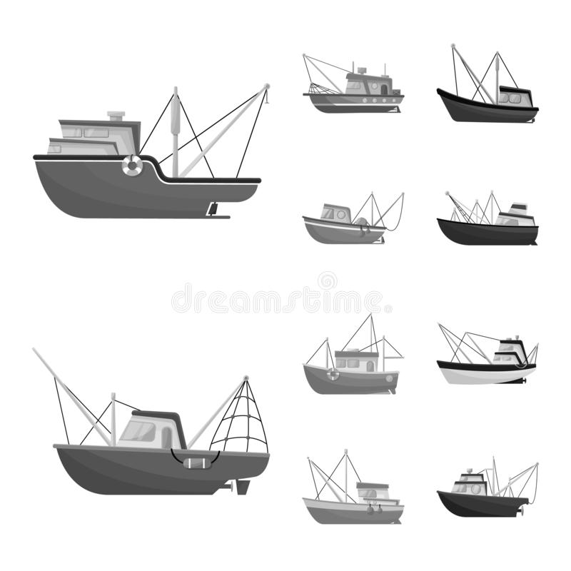 Vector design of sea and speedboat logo. Collection of sea and industrial vector icon for stock. Vector illustration of sea and speedboat icon. Set of sea and royalty free illustration