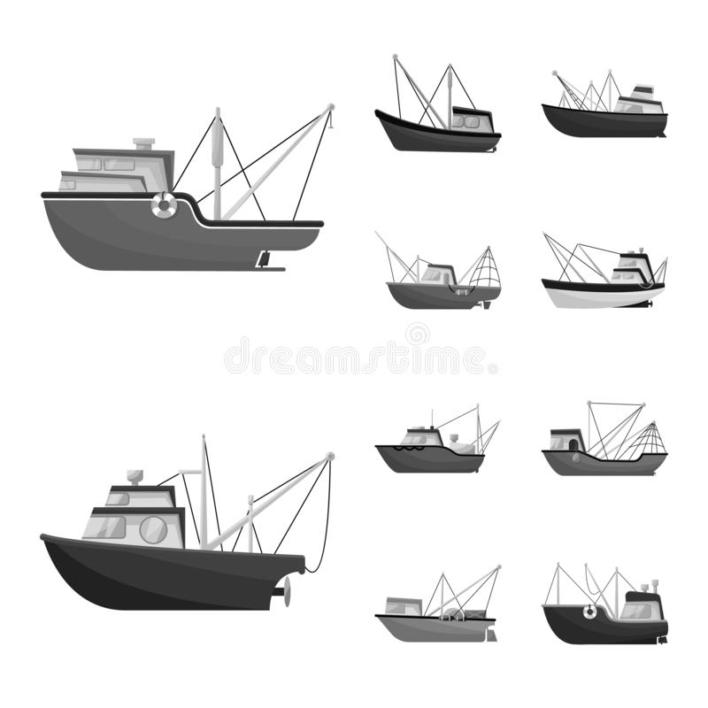 Vector design of sea and speedboat logo. Set of sea and industrial vector icon for stock. Vector illustration of sea and speedboat icon. Collection of sea and stock illustration
