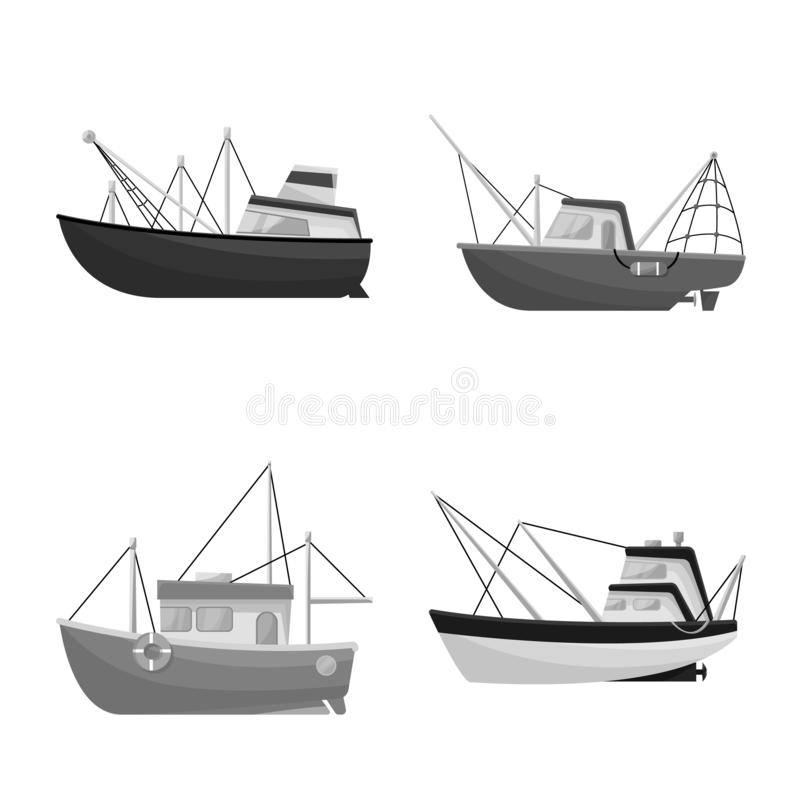 Isolated object of sea and speedboat icon. Collection of sea and industrial vector icon for stock. Vector design of sea and speedboat symbol. Set of sea and royalty free illustration