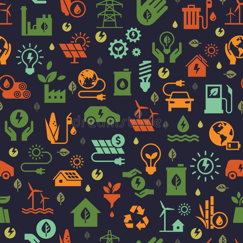 Vector design with seamless ecology pattern and green energy concept in trendy flat style. vector illustration