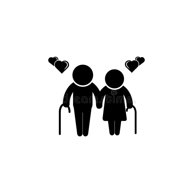 Vector design for senior couple, card or poster with man sign pictograms male and female hearts icon. Simple black family icon. Ca vector illustration