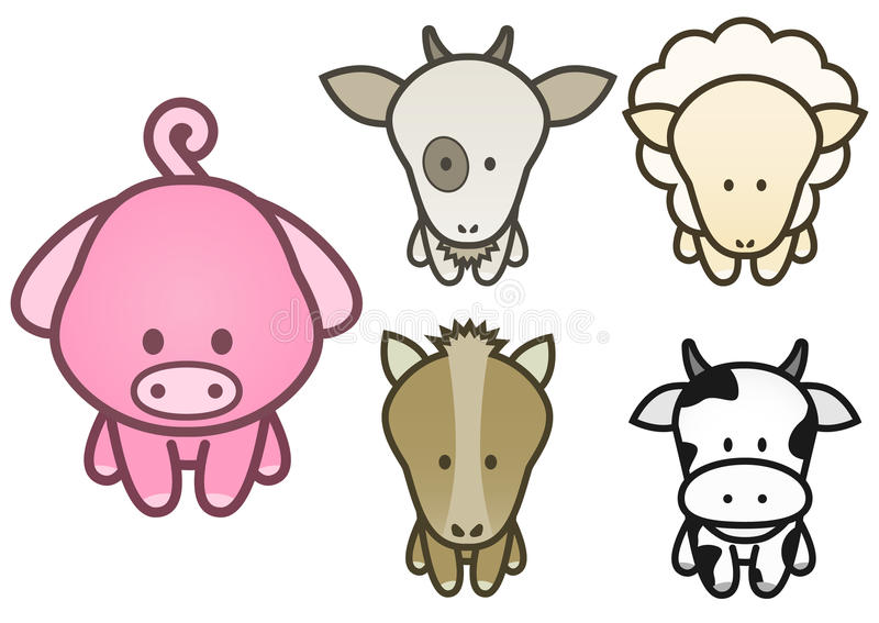 Download Vector Design Set Of Cartoon Farm Animals. Stock Photography - Image: 12922252