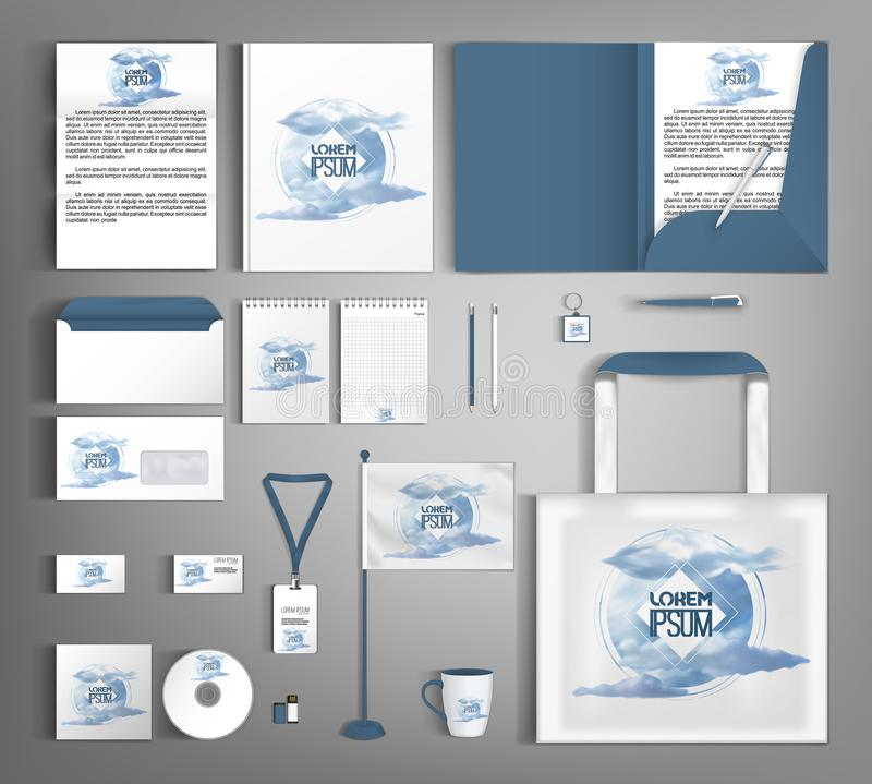 Vector design set of corporate identity. Stylish pattern with clouds. Stylish set of corporate identity with clouds. Editable design template vector illustration