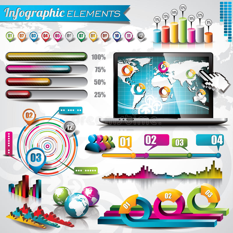 Vector design set of infographic elements. royalty free illustration