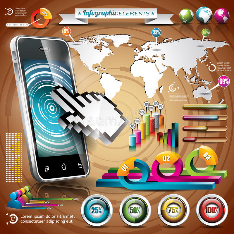 Vector design set of infographic elements world map and download vector design set of infographic elements world map and information graphics on mobile phone gumiabroncs Gallery
