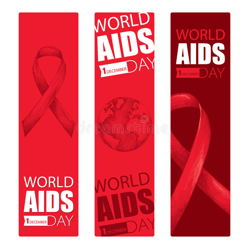 Vector design set with vertical banner with red ribbon and earth planet. AIDS Awareness symbols in sketch and line art style. vector illustration