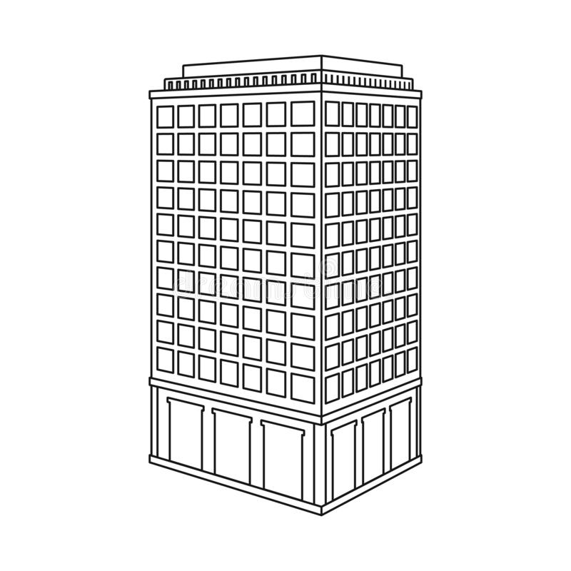Vector design of skyscraper and house sign. Set of skyscraper and hotel vector icon for stock. Vector illustration of skyscraper and house logo. Collection of stock illustration