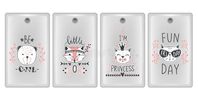 Vector design for smartphone covers. Phone cases with cute animals. Set with teddy bears, cats, fox. vector illustration