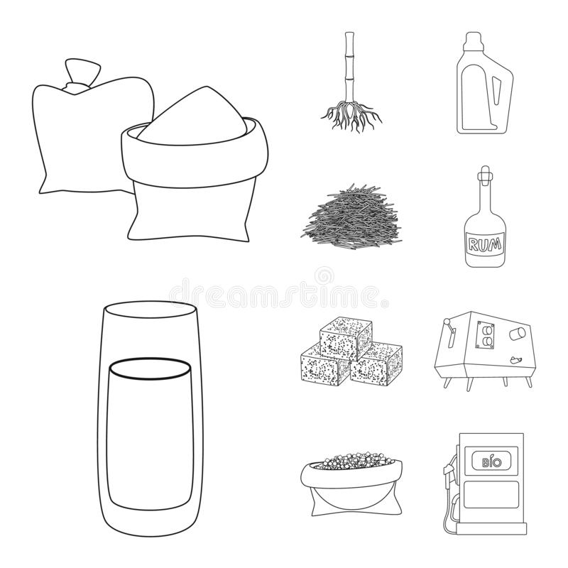 Vector design of sugar and field icon. Set of sugar and plantation stock symbol for web. Vector illustration of sugar and field symbol. Collection of sugar and royalty free illustration