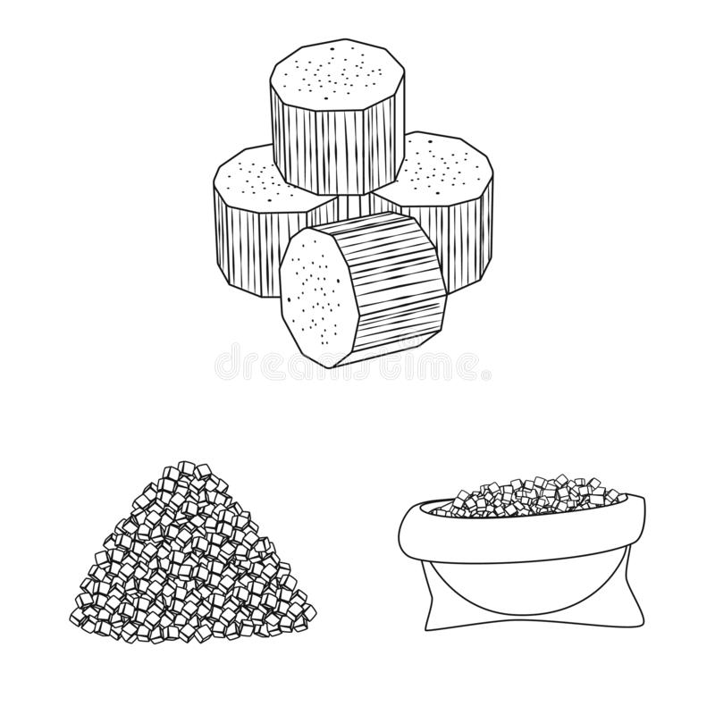 Isolated object of sugar and field symbol. Collection of sugar and plantation vector icon for stock. Vector design of sugar and field sign. Set of sugar and stock illustration