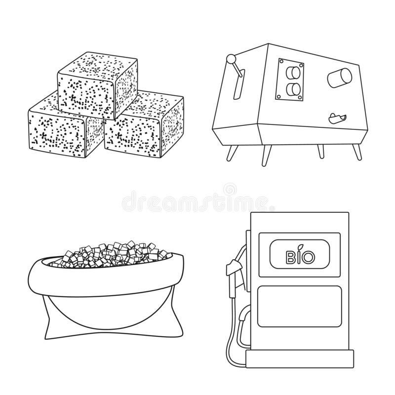 Isolated object of sugar and field icon. Collection of sugar and plantation vector icon for stock. Vector design of sugar and field symbol. Set of sugar and vector illustration