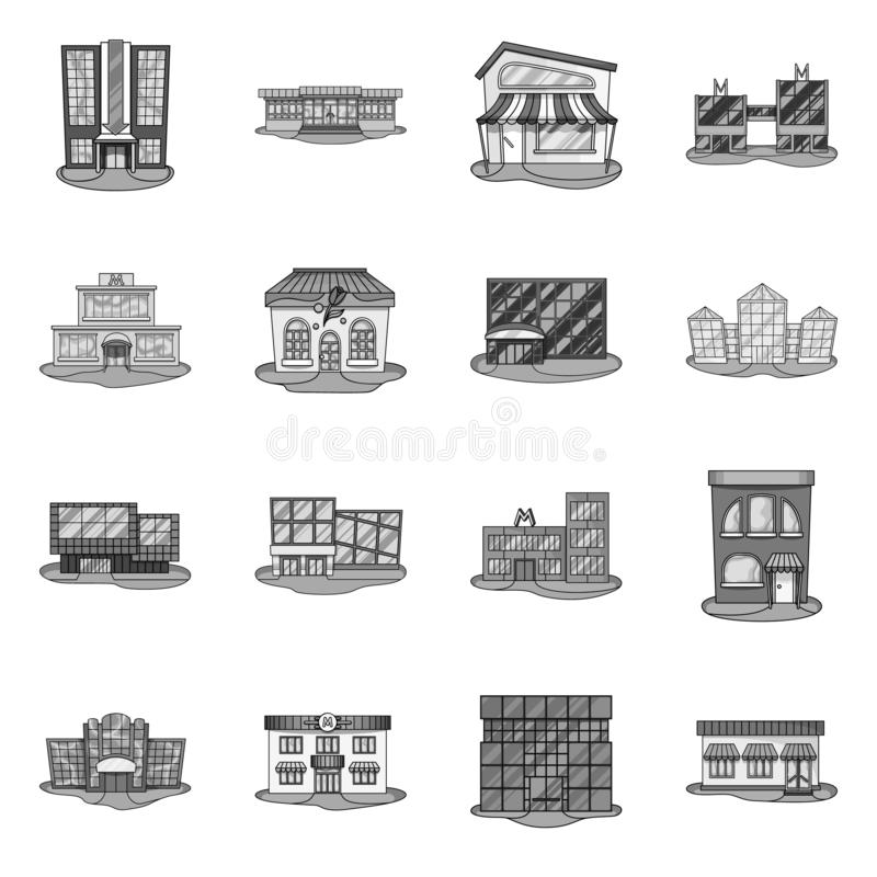 Isolated object of supermarket and building logo. Collection of supermarket and business vector icon for stock. Vector design of supermarket and building icon vector illustration