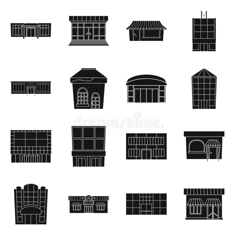 Vector design of supermarket and building icon. Set of supermarket and commercial stock vector illustration. Vector illustration of supermarket and building vector illustration
