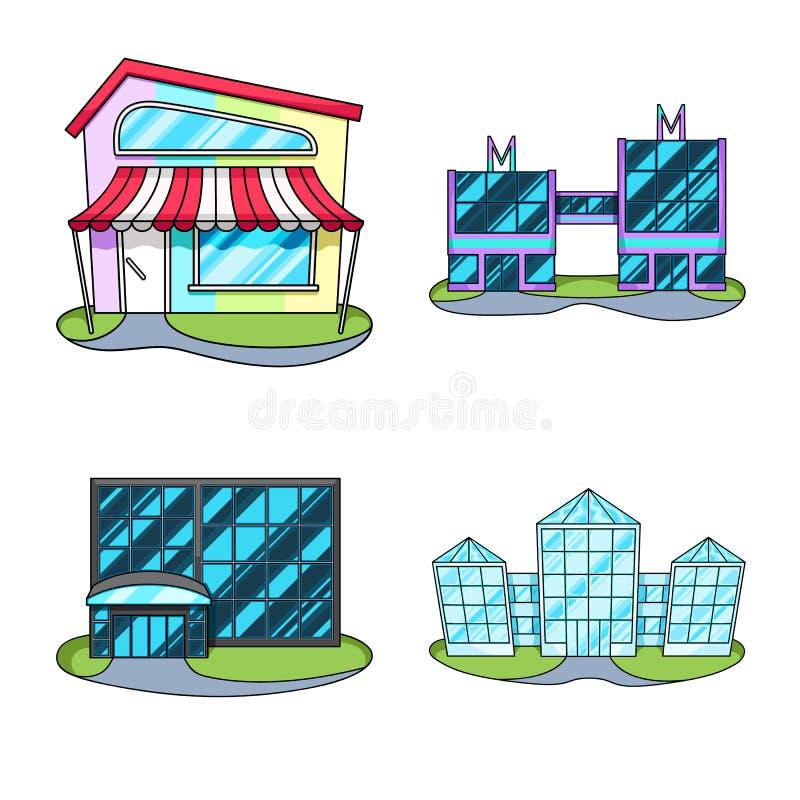 Vector design of supermarket and building logo. Set of supermarket and city vector icon for stock. Vector illustration of supermarket and building icon stock illustration