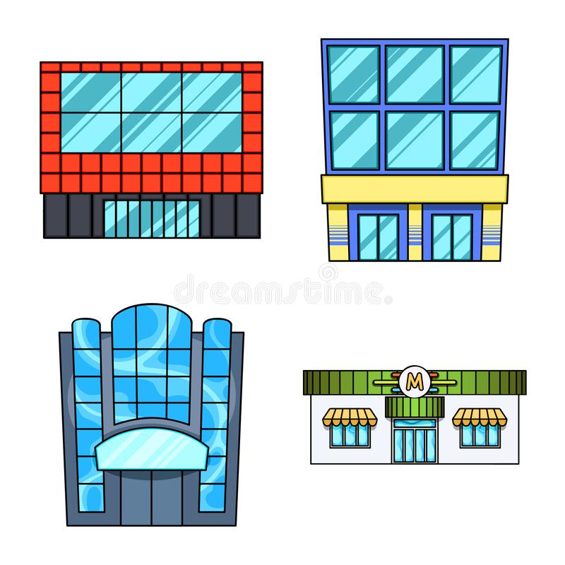 Isolated object of supermarket and building icon. Collection of supermarket and city stock vector illustration. Vector design of supermarket and building symbol vector illustration