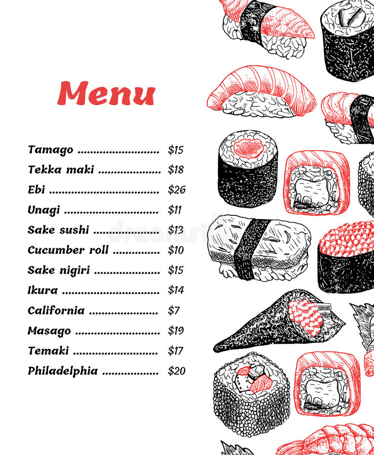 Vector design sushi menu - hand drawn illustration. stock photos