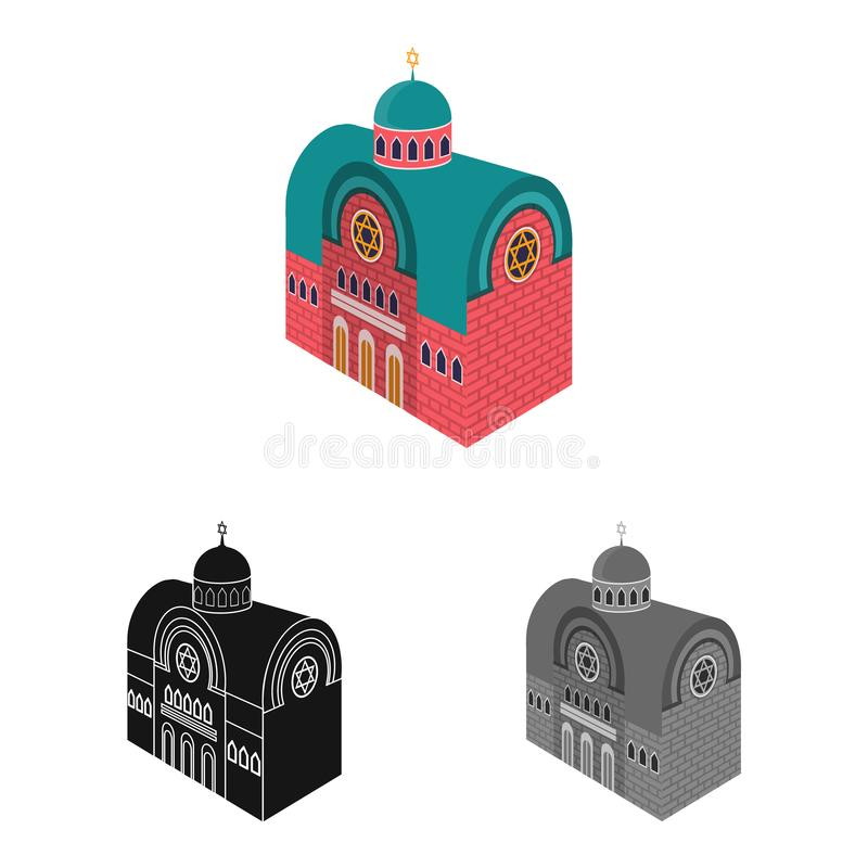Vector design of synagogue and church logo. Collection of synagogue and judaism stock vector illustration. Vector illustration of synagogue and church icon. Set royalty free illustration