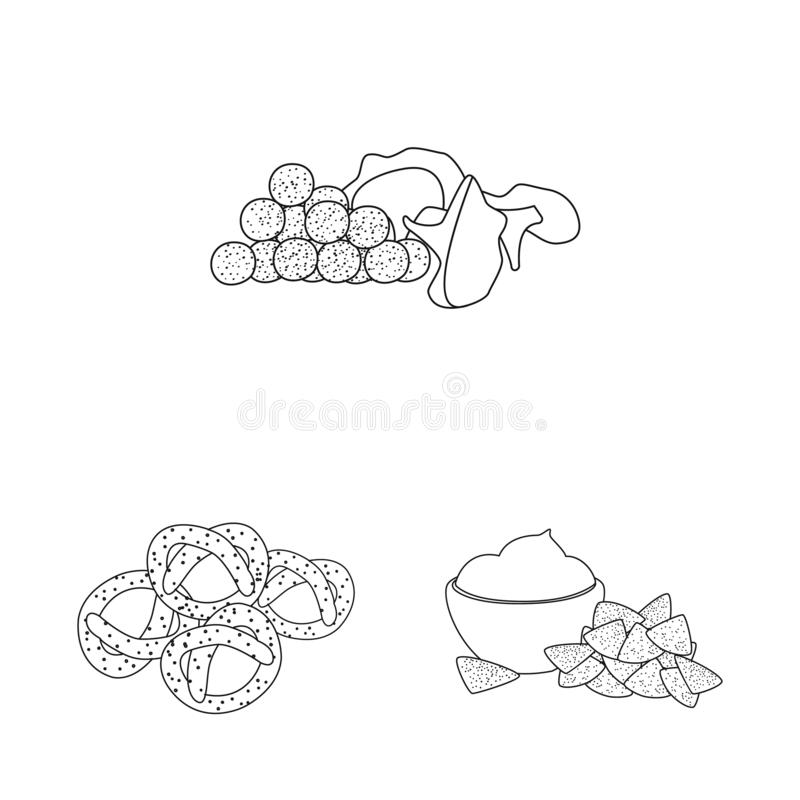 Isolated object of taste and crunchy sign. Set of taste and cooking stock symbol for web. Vector design of taste and crunchy logo. Collection of taste and vector illustration