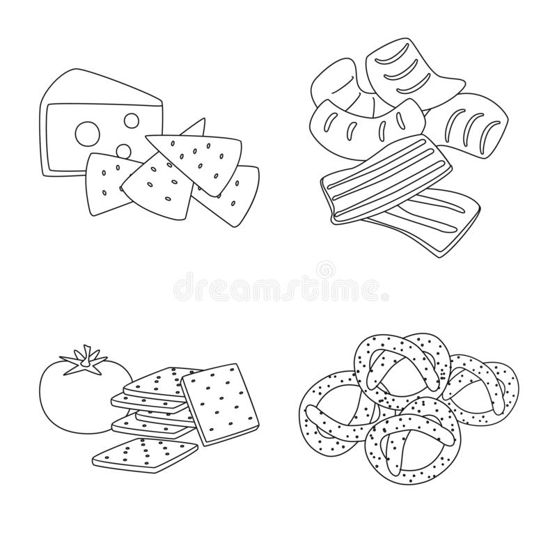 Vector design of taste and crunchy logo. Set of taste and cooking stock vector illustration. Vector illustration of taste and crunchy icon. Collection of taste stock illustration