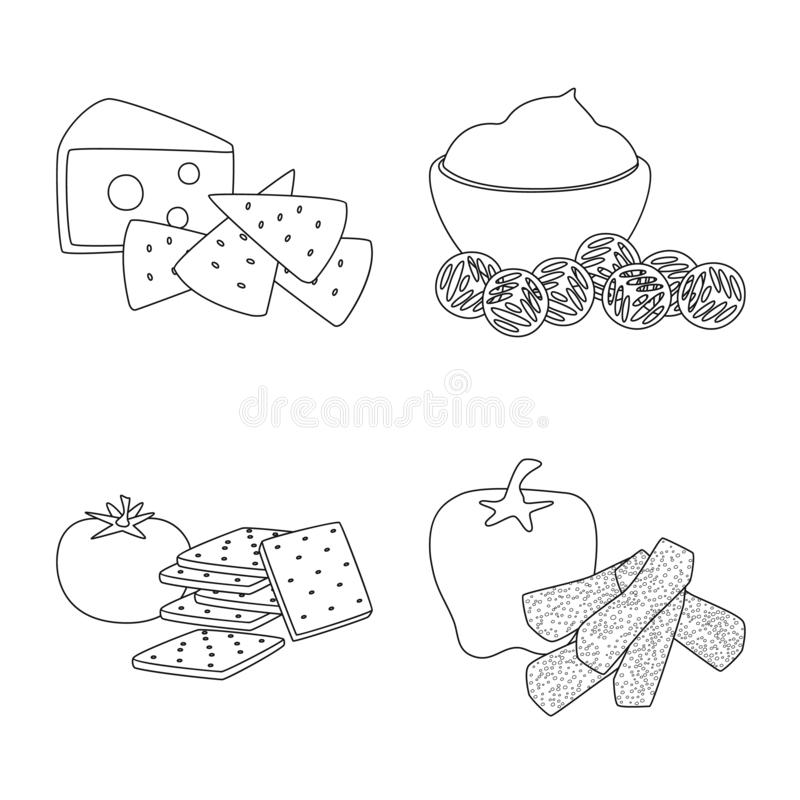 Isolated object of taste and crunchy icon. Set of taste and cooking stock vector illustration. Vector design of taste and crunchy symbol. Collection of taste vector illustration