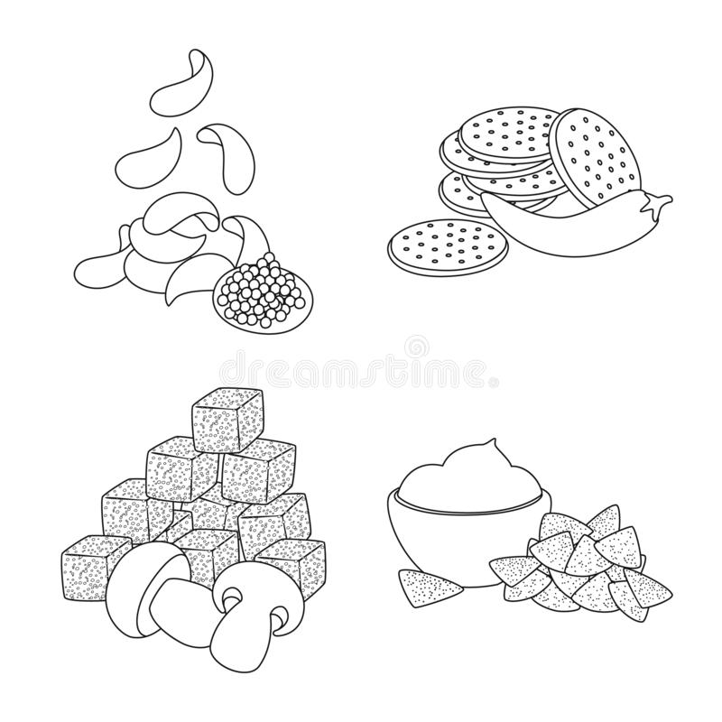 Isolated object of taste and crunchy icon. Collection of taste and cooking stock vector illustration. Vector design of taste and crunchy symbol. Set of taste royalty free illustration
