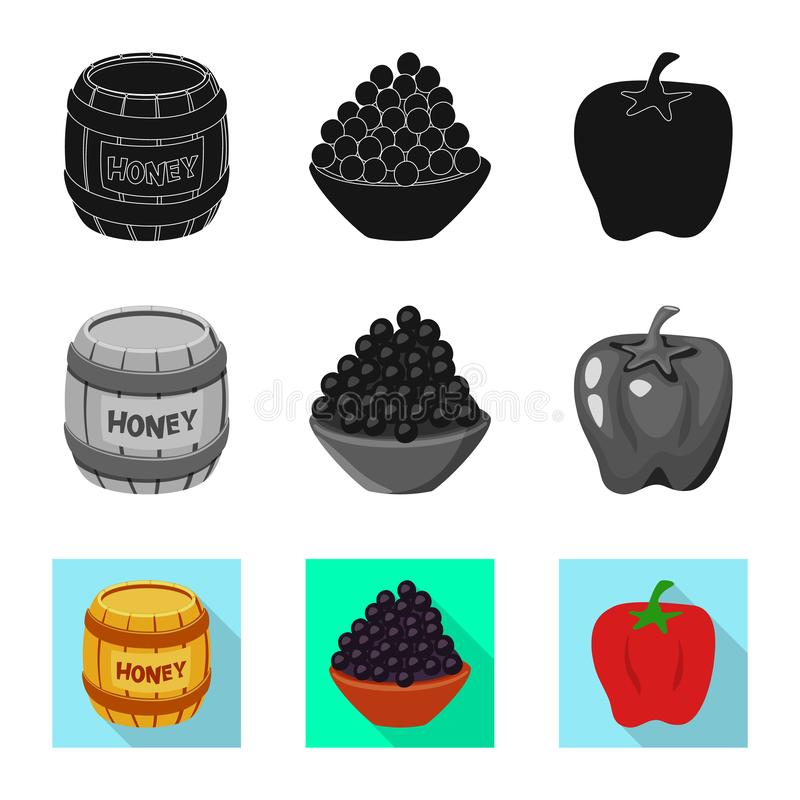 Vector design of taste and product icon. Set of taste and cooking stock symbol for web. Vector illustration of taste and product symbol. Collection of taste and royalty free illustration
