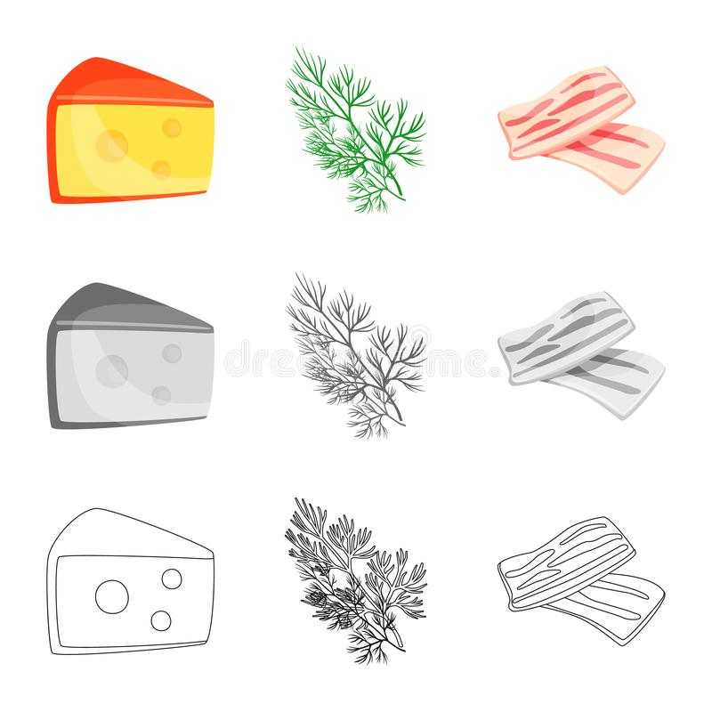 Vector design of taste and product sign. Set of taste and cooking stock symbol for web. Vector illustration of taste and product logo. Collection of taste and vector illustration