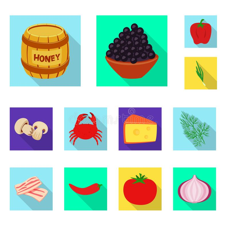 Isolated object of taste and product icon. Collection of taste and cooking stock symbol for web. Vector design of taste and product symbol. Set of taste and vector illustration