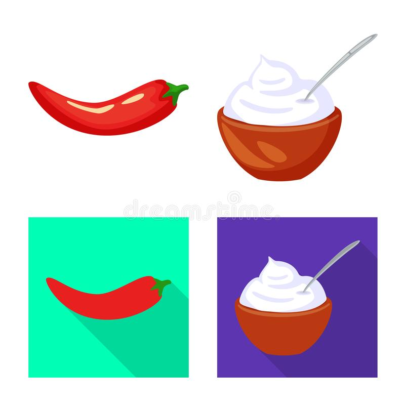 Isolated object of taste and product icon. Collection of taste and cooking stock symbol for web. Vector design of taste and product symbol. Set of taste and royalty free illustration