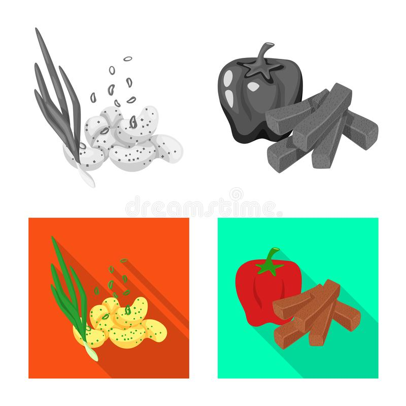 Isolated object of taste and seasonin symbol. Collection of taste and organic   stock symbol for web. Vector design of taste and seasonin sign. Set of taste and stock illustration