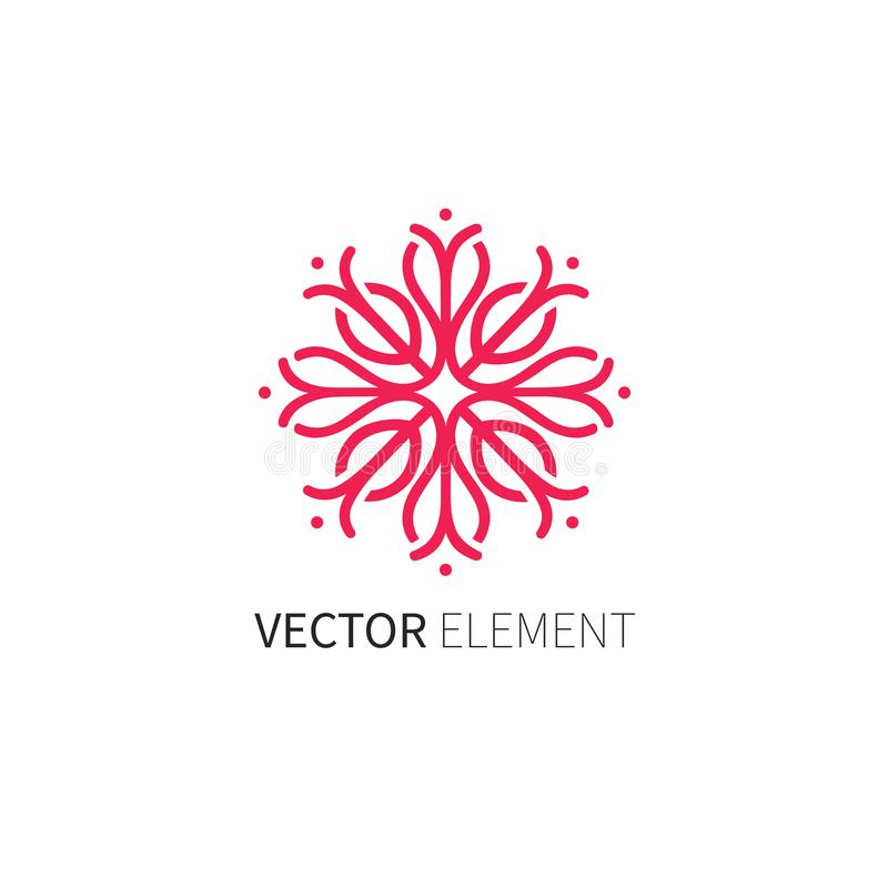 Vector design template and abstract leaf emblem in linear style - emblem for fashion, beauty and jewelry industry, royalty free stock photography