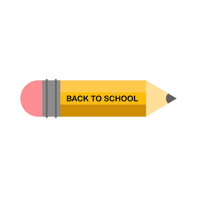 Vector design template for Back to school. school supplies icon, sharp wooden pencil and Back to School text stock illustration