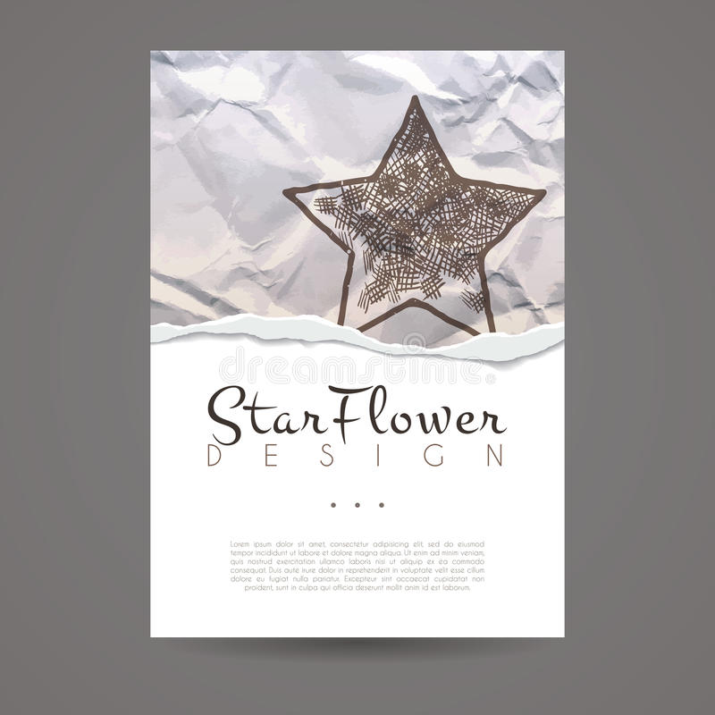 Vector design template. Business card with star element. Hipster style. Vector design template. Brochure in random colorful style. Vintage frame or background royalty free illustration