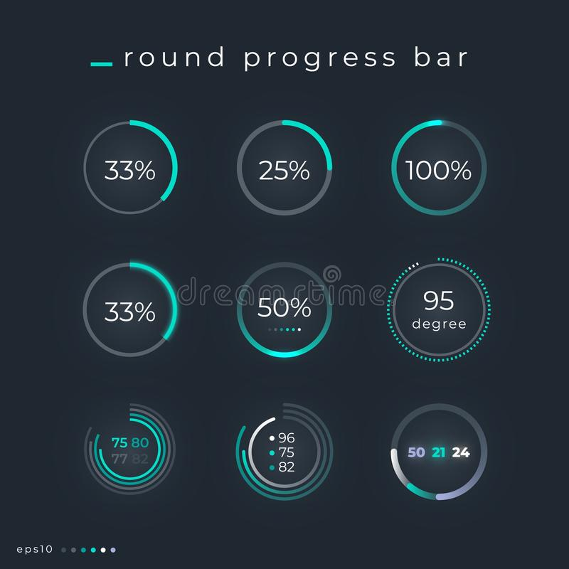 Vector design template of radial status bars. HUD interface elements.  royalty free illustration