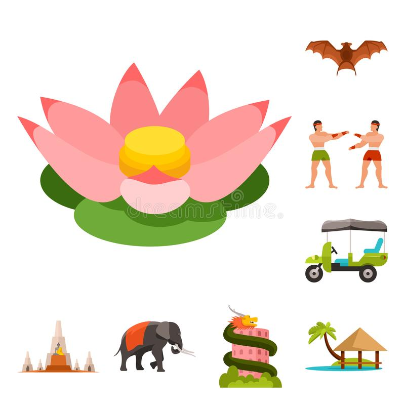 Isolated object of thailand and travel symbol. Collection of thailand and culture stock symbol for web. Vector design of thailand and travel sign. Set of vector illustration