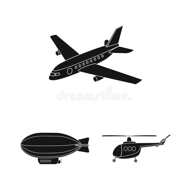 Isolated object of transport and object logo. Set of transport and gliding stock vector illustration. stock illustration